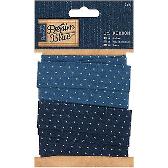 Papermania Denim Blue Ribbon 1m 2/Pkg-Denim Spot PM367172