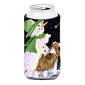 Snowman with English Springer Spaniel  Tall Boy Beverage Insulator Beverage Insulator Hugger