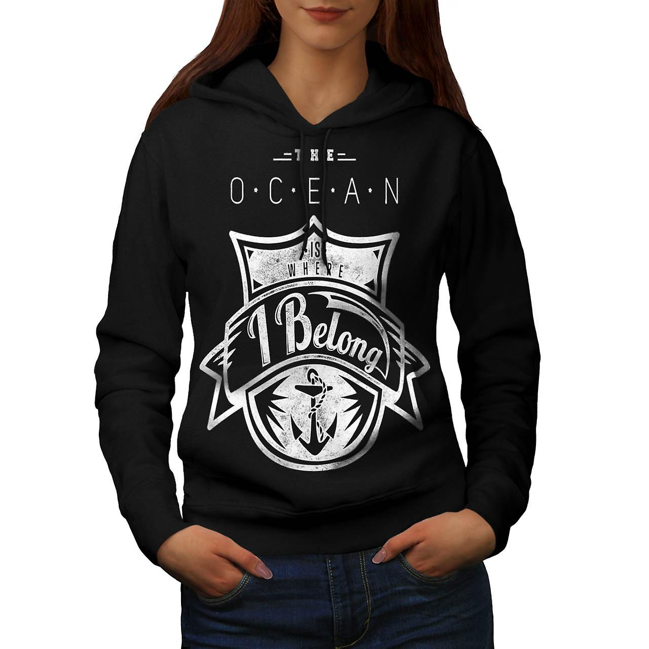 Belong Ocean Sea Boat Love Wave Women Black Hoodie | Wellcoda