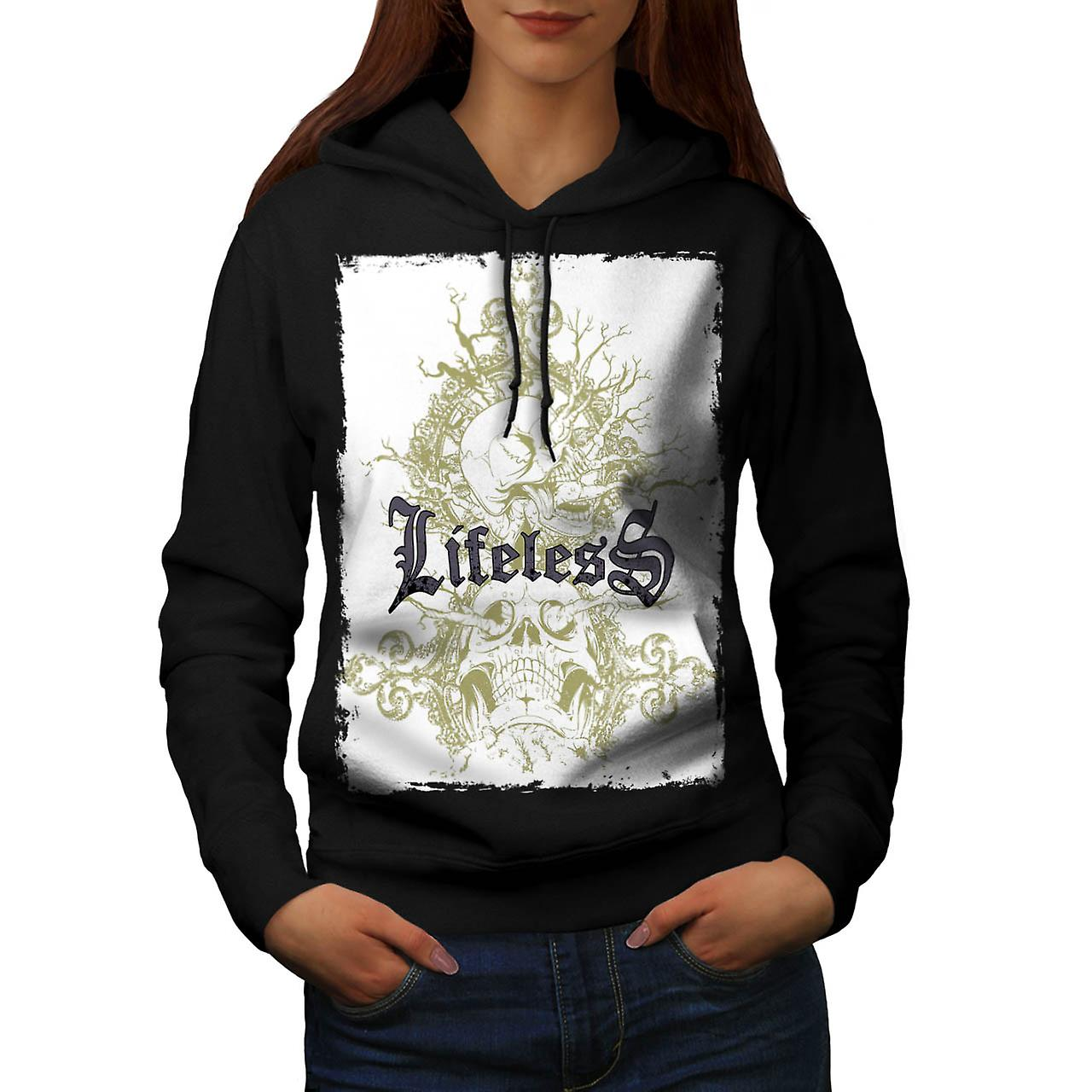 Lifeless Soul Skull Grave Yard Women Black Hoodie | Wellcoda