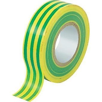 Electrical tape Conrad Components Green, Yellow (L x W) 25 m x 19 mm Natural rubber Content: 1 Rolls