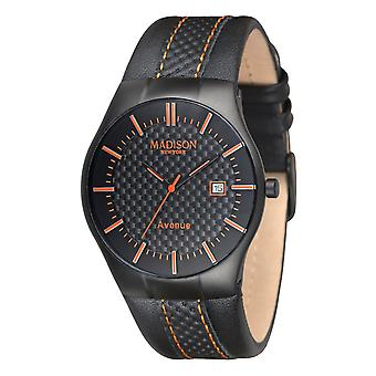 MADISON NEW YORK Unisex ur armbåndsur læder G4785A Avenue