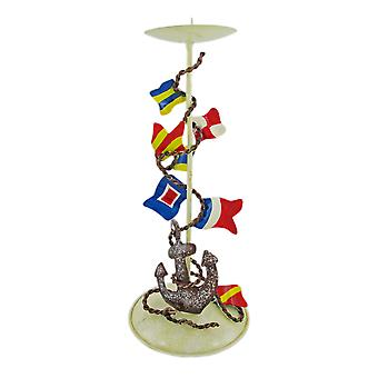 Metal Nautical Signal Flag Candle Holder Hand Painted