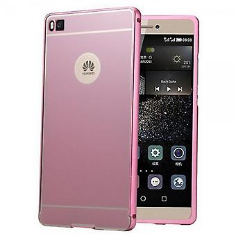 Aluminium bumper 2 pieces with cover Pink for Huawei Ascend P8