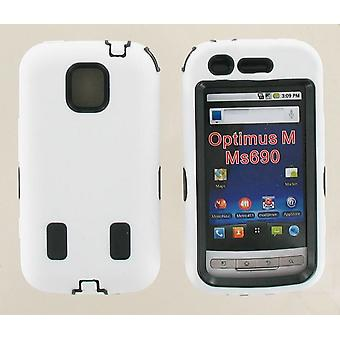 Dual Snap-on Hard Case for LG Optimus M MS690 (White/Black)