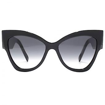 Marc Jacobs Signature Temple Cateye Sunglasses In Black Dark Grey
