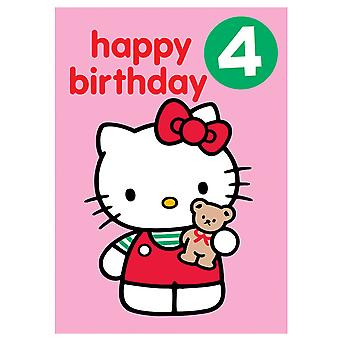 Hello Kitty Age 4 Badge Birthday Card