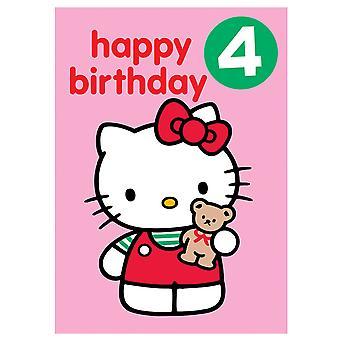 Ciao Kitty età 4 Badge Birthday Card