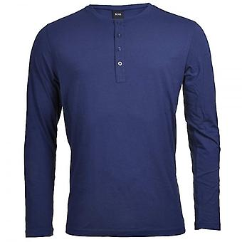 HUGO BOSS Long Sleeve Cotton Modal Button Crew Neck T-Shirt, Navy, Small