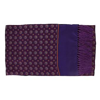Michelsons of London Vintage Medallion Silk and Wool Scarf - Purple