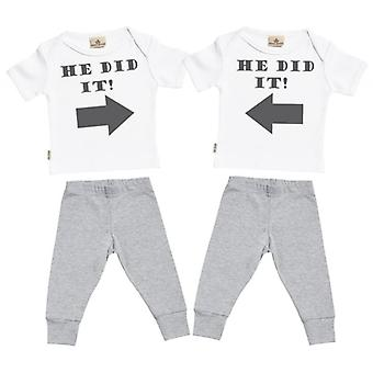 Spoilt Rotten He Did It He Did It Baby T-Shirt & Baby Jersey Trousers Twin Boys Outfit Set