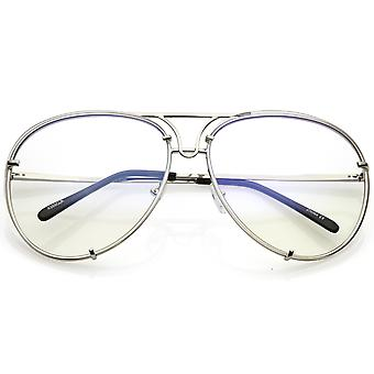 Oversize Rimless Aviator Glasses Unique Nose Piece Clear Lens 67mm