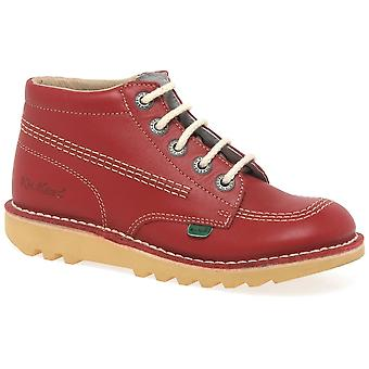 Kickers Chi Red Leather Childs Ankle Boot