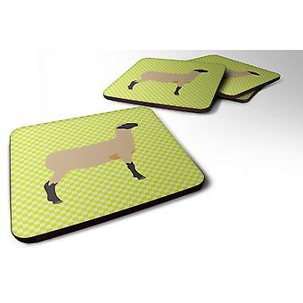 Set of 4 Hampshire Down Sheep Green Foam Coasters Set of 4