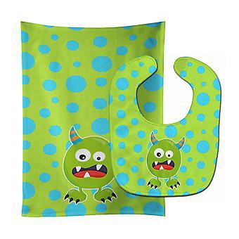 Little Monster Greenie Doodle Baby Bib & Burp Cloth