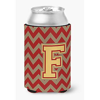 Letter F Chevron Garnet and Gold  Can or Bottle Hugger