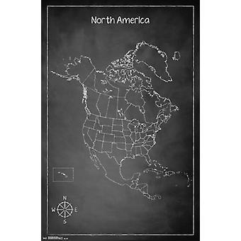Kaart - Noord-Amerika Poster Poster Print krijt