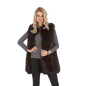 Real Fox Fur Vest for Women - Deep Burgundy Cardigan Collar