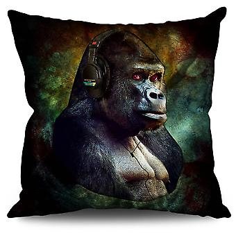 Gorilla Headphones Animal Linen Cushion Gorilla Headphones Animal | Wellcoda