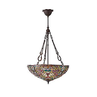 Anderson Large Tiffany Style Inverted Three Light Ceiling Pendant - Interiors 1900 70744
