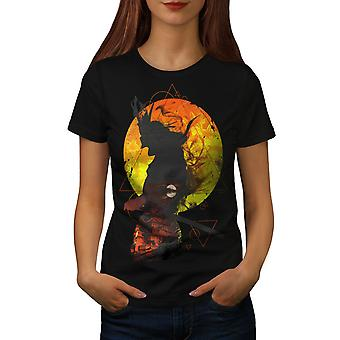 Samurai Moon Night Japan Women BlackT-shirt | Wellcoda