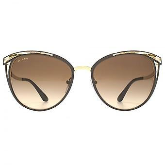 Bvlgari Snake Effect Cateye Sunglasses In Brown Pale Gold