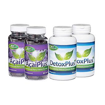 Acai Plus and Detox Plus Cleanse Combo Pack - 2 Month Supply - Acai Berry Combo Pack - Evolution Slimming