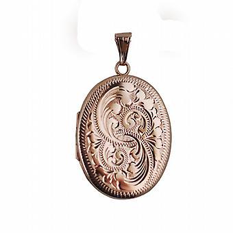9ct розовое золото 35x26mm ручной гравировкой плоской овальной медальон