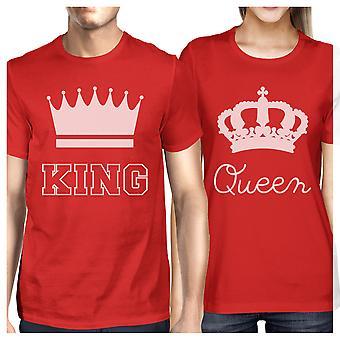 Król i królowa pasujące pary prezent koszulki Red jego i jej koszulki