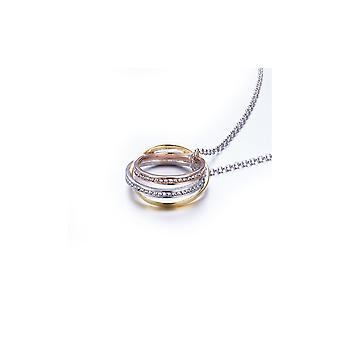 Pendant circles 3 gold yellow, white and Rose, Swarovski Elements and Rhodium plate crystals
