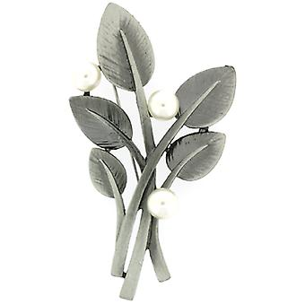 Brooches Store Vintage Matt Silver & Faux Pearls Leaves Corsage Brooch