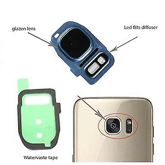 Samsung Galaxy S7/S7 Edge behind camera lens cover, glass lens and LED diffuser-blue-complete