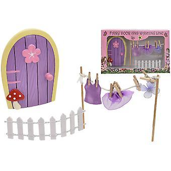 Fairyland fe døren sæt med vask linje legesæt