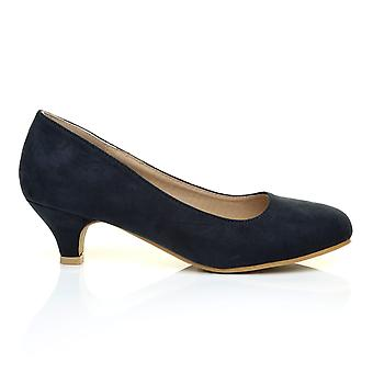 CHARM Navy Blue Faux Suede Low Heel Round Toe Comfort Court Shoes