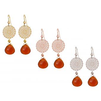 GEMSHINE ladies earrings with Mandalas and carnelian. Chandelier gemstone drop earrings 925 Silver, gold-plated or gold plated rose. Made in Munich, Germany. Delivered in an elegant gift case.