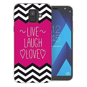 Samsung A6 (2018) Live Laugh Love hart TPU Gel geval