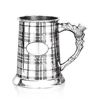 Scottish Tartan Design Thistle Handle Pewter Tankard - 1 Pint