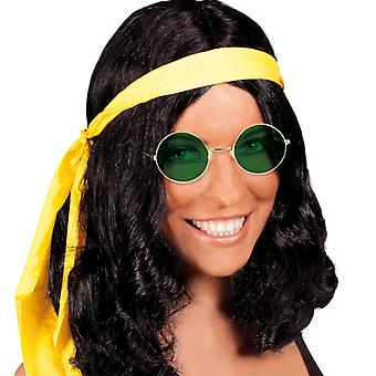 Hippie set black wig Centre parting hair band