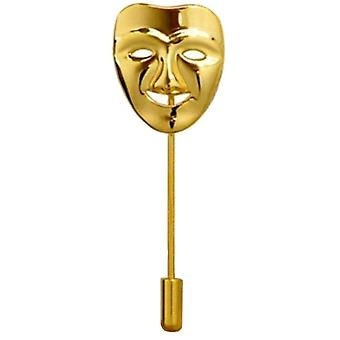 Bassin and Brown Happy Mask Lapel Pin - Gold