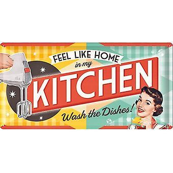Чувствовать себя как дома в моей кухне большой рельефной стали подписать 500 мм X 250 мм