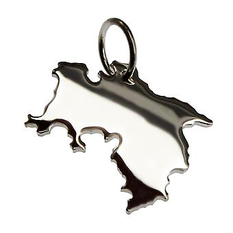 Trailer map lower SAXONY in solid 925 Silver Pendant