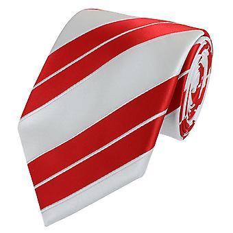 Schlips Krawatte Krawatten Binder 8cm weiß rot gestreift Fabio Farini