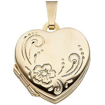 Сердце медальон 4 фотографии 333 золото Желтые Золотое сердце очарование подвески открыть