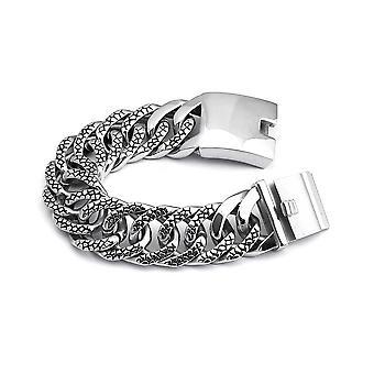 Men's Stainless Steel�Embossed Miami Cuban Curb Link Bracelet