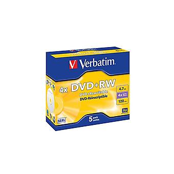 Verbatim DVD+RW, 4x, 4,7 GB/120 min, 5-pack jewel case, SERL