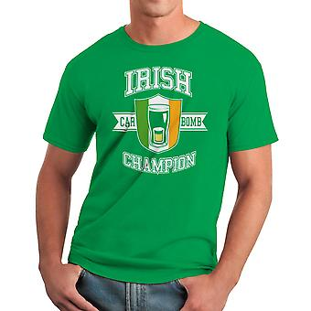 Funny Irish Champion Car Bomb Graphic Men's Kelly Green T-shirt