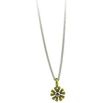 Ti2 Titanium Small Ten Petal Flower Pendant - Lemon Yellow