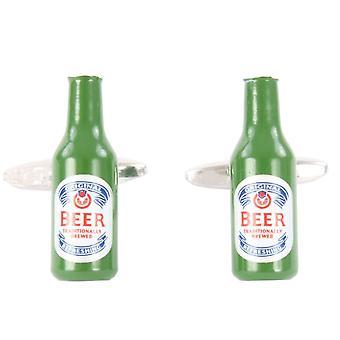 David Van Hagen Beer Bottle Cufflinks - Green/Silver