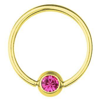 Placcato in oro BCR titanio Piercing 0,8 mm, SWAROVSKI ELEMENTS rosa   6 - 12 mm