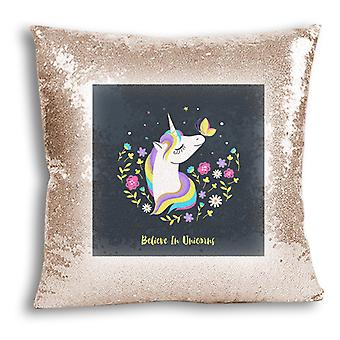 i-Tronixs - Unicorn trykt Design Champagne Sequin pute / Pillow Cover for hjem Decor - 14